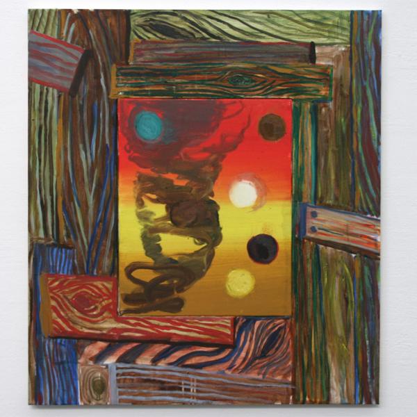 Fritz Bornstuck - Between the bars - Vierluik, 90x80cm Olieverf op doek