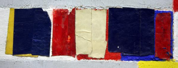 Piet Mondriaan - Victory Boogie Woogie - Olieverf, tape-papier, houtskool en potlood (detail)