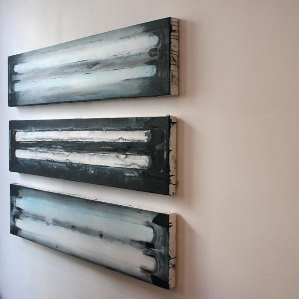 Jop Vissers Vorstenbosch - TID 36watt diverse hertz versies - drie maal 30x130cm Acrylverf en spuitbus op canvas