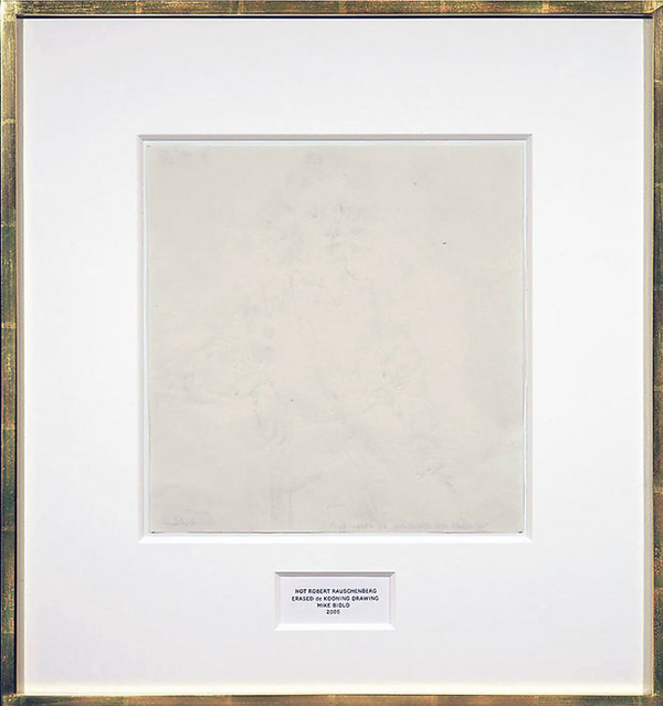 Mike Bidlo - Not Robert Rauschenberg Ereased de Kooning Drawing - Grafiet op papier 22x21inch