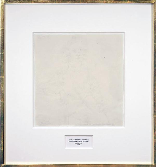Mike Bidlo - Not Robert Rauschenberg Ereased de Kooning Drawing - Grafiet op papier 22x21inch