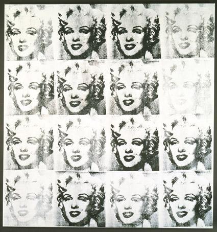 Mike Bidlo - Not Warhol (16 Silver Marilyns) - Zeefdruk