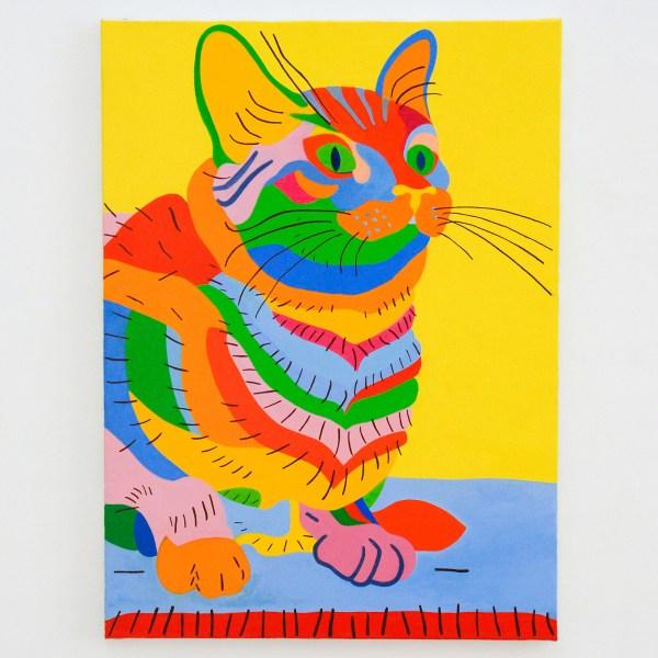 Leen Voet - Peinture inacheve de madame T, Bild Katze, Original, Mischtechnik neu, cat painting, cat mixed media - 73x54cm Olieverf op canvas