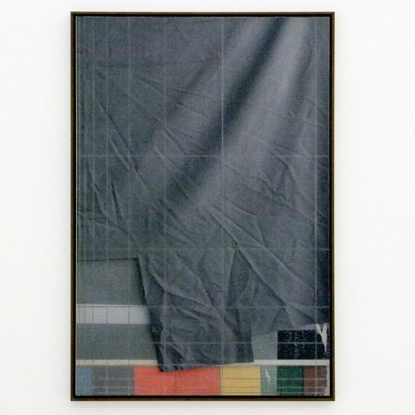 David Maljkovic - Aaassemblage 6 - 77x53x3cm Inkjet print op katoen, beschilderd met olieverf, gemonteerd op aluminium paneel met laser tekening