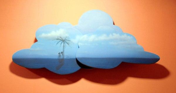 Friedrich Kunath - Cloudy (Island) - 63x136x17cm Acrylverf, inkt, glasvezel, piepschuim en hars