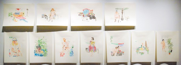 Alejandra Hernandez - Sitters, things and the studio - 64x48cm Monotypes, acrylverf op Japans papier