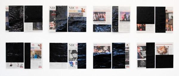 Klaas Kloosterboer - 16168(1) Percentage covered, horizontal and vertical - Elk 30x42cm Lakverf op krantenpapier, twee delen, editie van 11
