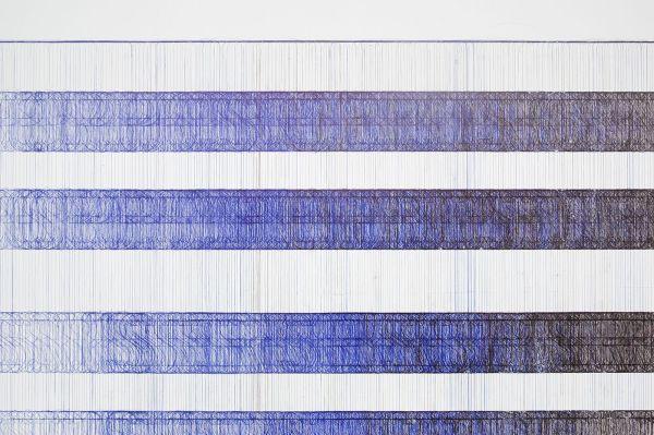 Job Koelewijn - Black and Blue - 180cm hoogte, balpen en sjabloon (detail)