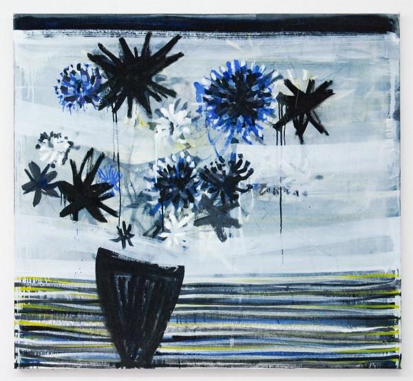 Gerben Mulder - Flowers in Vase - 122x133cm Olieverf op canvas