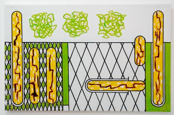 Allard Budding - Zonder Titel - 90x140cm, Houtskool en acrylverf op canvas