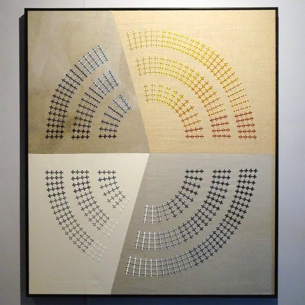 Frank Ammerlaan - Model for Consensus #3 - 150x140cm, Stof, vuil en borduursel op jute, canvas en linnen
