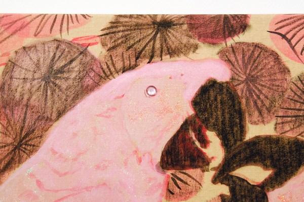 Stigter van Doesburg - Iris van Dongen - Pink Parrots - 135x90cm Acrylverf en pigment op canvas (detail)