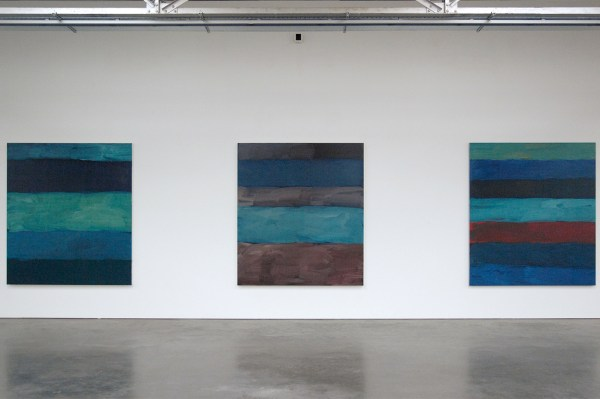 Sean Scully - Landline Pale Dark & Landline Crimson - Olieverf op linnen, 2015 & Oisin Sea Green - Olieverf op aluminium, 2016