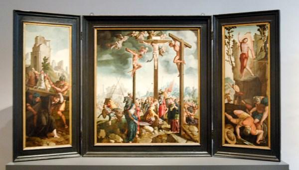 Jan van Scorel en Atelier - Drieluik met Kruisiging - circa 1535