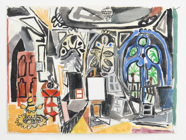 Marijn van Kreij - Untitled (Picasso, the Studio 1956) - 30x21cm, Gouache en potlood op papier