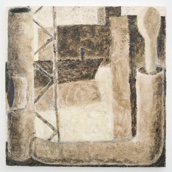 Derk Thijs - Zondder Titel - 65x65cm Mica, zand en acrylverf op doek
