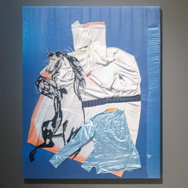 Wouter Paijmans - Logo - 150x200cm Polyester textiel, zijde, draad, punaise en lakverf