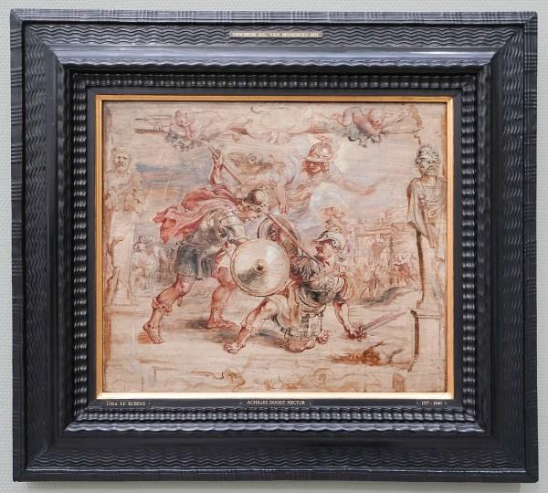 Peter Paul Rubens - Achilles doodt Hector - Olieverf op paneel, circa 1635