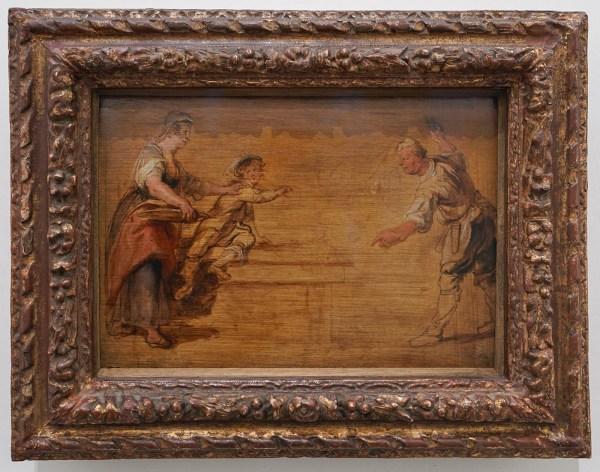 Peter Paul Rubens - Een keukenmeid, een jongen en een kok bij een tafel - Olieverf op paneel, 1635-1638