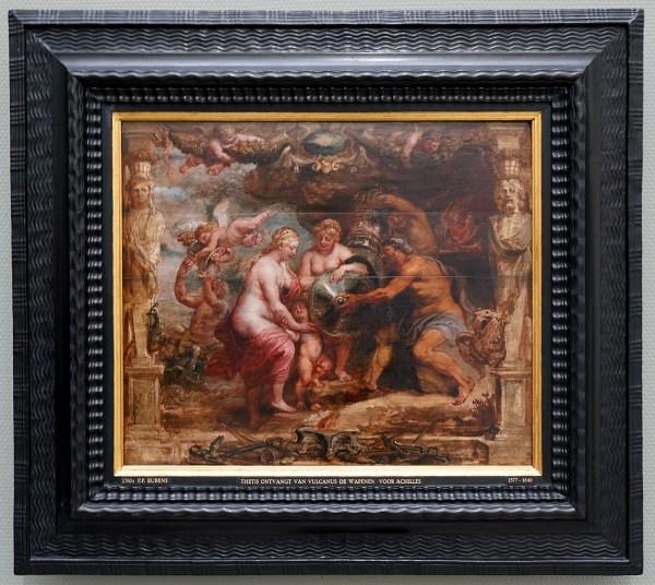 Peter Paul Rubens - Thetis ontvangt van Vulcanus de wapenuitrusting van Achilles - Olieverf op paneel, 1635