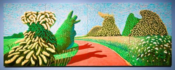 David Hockney - Bloeiende meidoorns langs de Romeinse weg - Olieverf op 8 doeken, 2009