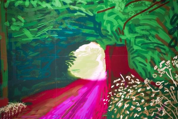 David Hockney - Het aanbreken van de Lente in Woldgate, East Yorkshire in 2011 - iPad tekening gedrukt op vier vellen, nr 2 uit een oplage van 10 (detail)