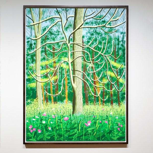 David Hockney - Het aanbreken van de Lente in Woldgate, East Yorkshire in 2011 - iPad tekening gedrukt op vier vellen, nr 2 uit een oplage van 10