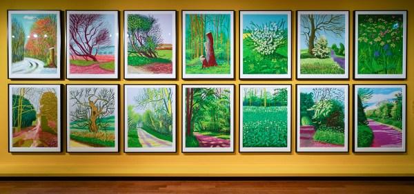David Hockney - Het aanbreken van de lente in Woldgate, East Yorkshire in 2011 (8jan, 29jan, 18mrt, 22mrt, 12apr, 12apr, 24apr, 28apr, 30apr, 6mei, 12mei, 14mei, 17mei, 31mei) - iPad tekening op papier, nr 4 uit oplage van 25