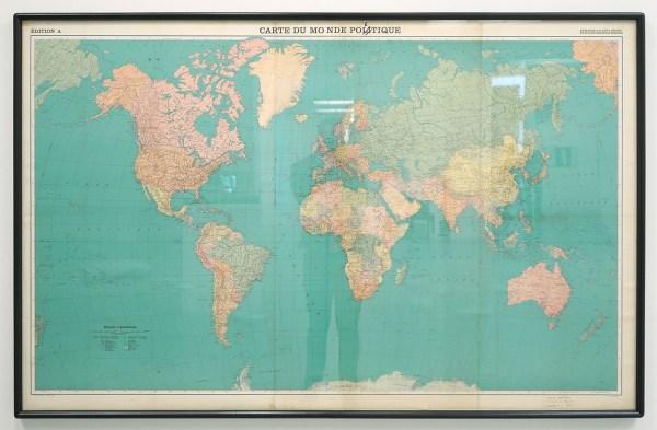 Marcel Broodthaers - Carte du monde poetique - Pen op geprinte wereldkaart