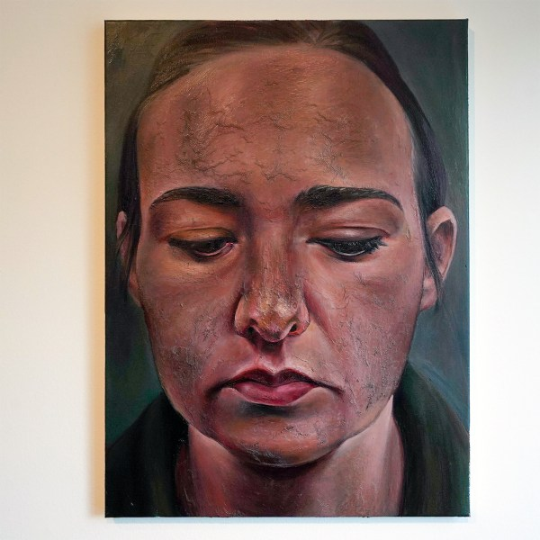 Ina van Zyl - Self-portrait With Downcast Eyes - 75x55cm, Olieverf op linnen