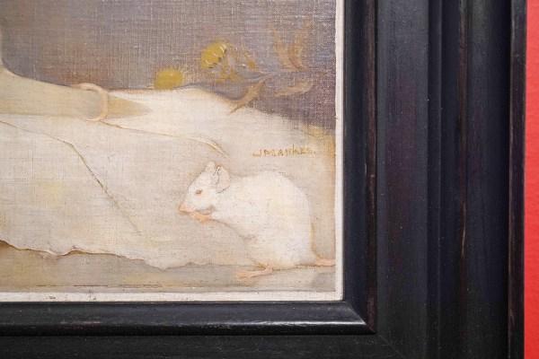 Jan Mankes - Witte muizen op Boekband - Olieverf op doek, 1911 (detail)
