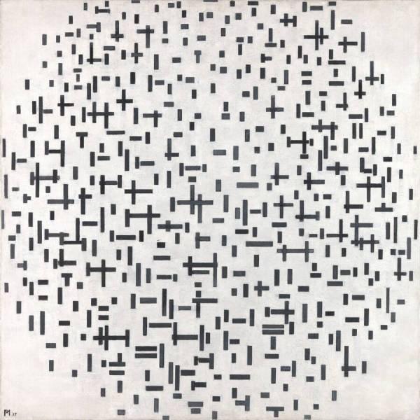 Piet Mondriaan - Compositie in lijn, tweede staat, 1916- 108x108cm, Olieverf op doe, 1917 Museum Kroller Muller