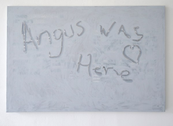 Henry Byrne - Angus was here (Appropriated painting of Angus Liao) - 91x137cm Vinylletters, acrylverf en olieverf op linnen