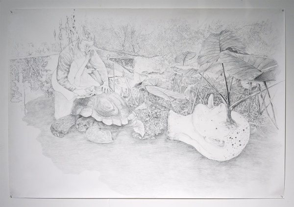 Gam Bodenhausen - Tongues touch the ari when dirt stings in the eye - 150x219cm Potlood op papier