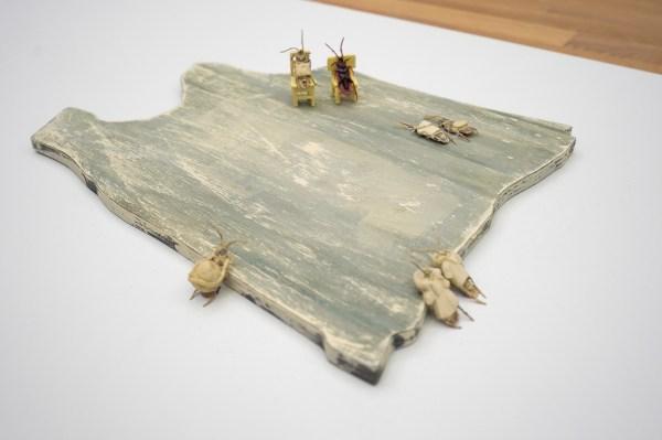 Arturo Kameya - Ghosts are another mouth to feed - Acrylverf en kleipoeder op hout, plastic kakkerlakken, gevonden objecten en keramiek
