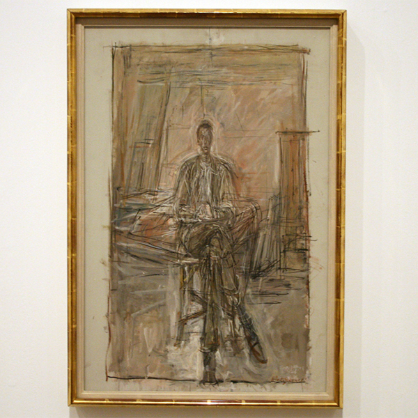 Alberto Giacometti - Seated Man - Olieverf op canvas