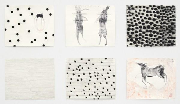 Arno Kramer - Zonder Titel - 6maal Aquarel, houtskool en potlood op papier