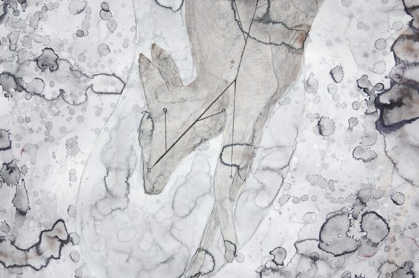 Arno Kramer - Zonder Titel - Aquarel, houtskool en potlood op papier (detail)