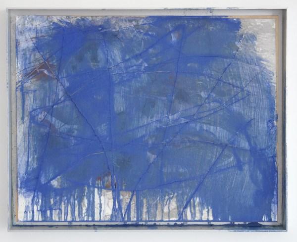 Arnulf Rainer - Blaue Wunder (Cadaveri) - 50x63cm Oliepastel en olieverf op foto op paneel