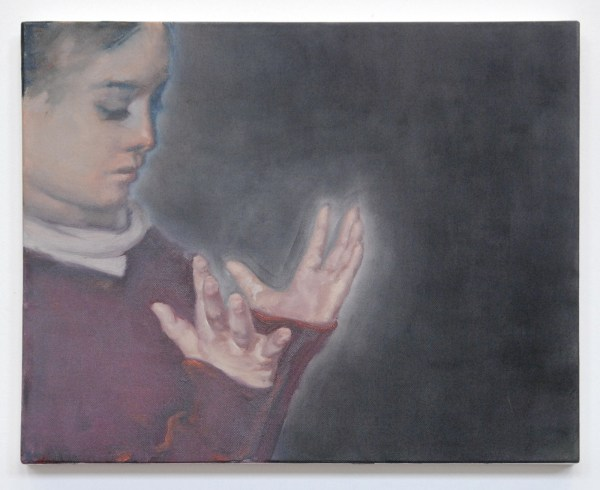 Attila Szucs - Girl Looking Down Her Hands - 40x50cm Olieverf op canvas 2011