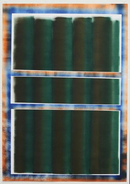Bas de Weerd - blauw oranje frame met banen - 70 x 100 cm, olieverf op papier, 2015