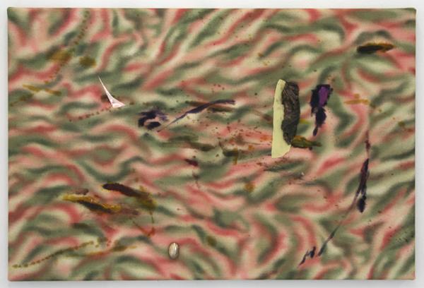 Bas van den Hurk - Untitled - 60x40cm Stof, olieverf, cortex (?), snoep en plastic