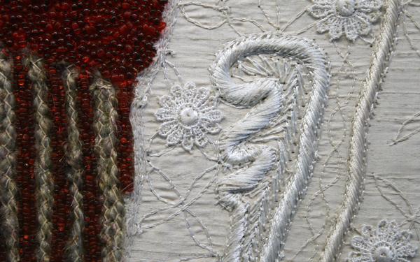 Berend Strik - The Artist As Baby - Stiksels en borduurwerk op doek (detail)