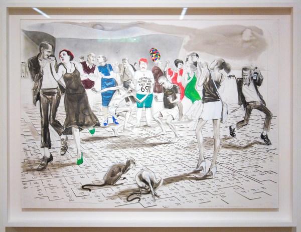 Charles Avery - Untitled (Dancers outside the MoA, Onomatopoeia) - Potlood, inkt, acrylverf, en gouache op papier