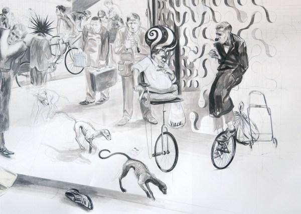 Charles Avery - Untitled (Place de la Revolution) - Potlood, inkt en acrylverf op papier (detail)