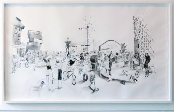 Charles Avery - Untitled (Place de la Revolution) - Potlood, inkt en acrylverf op papier