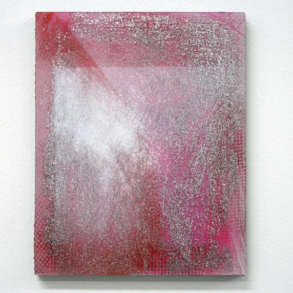 Cheryl Donegan - Crack 19 (pink carck) - Collage, stof, spuitbus, plexiglas, glitter, metallic tape en golfkarton