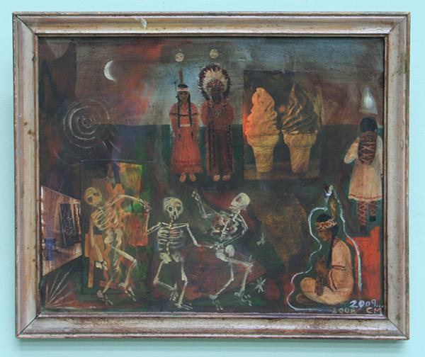 Chris Martin - Untitled - Olieverf en collage op gevonden schilderij