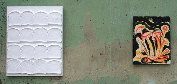 Chris Martin - White Bread for Rotterdam - Acrylverf, gelmedium en brood op doek & Psilocybin - Olieverf op doek