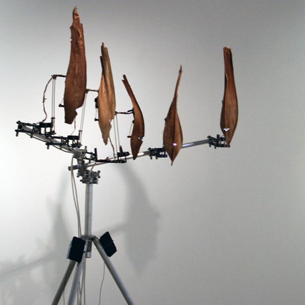 Christiaan Zwanikken - Questionable Gods of Bio Mechanics - 200x210x50cm Palmbladeren, hout, servos, staal, computer en geluid